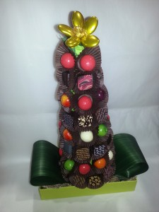 centre de table sapin en chocolat