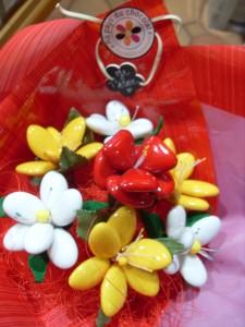fleurs en dragées chocolat